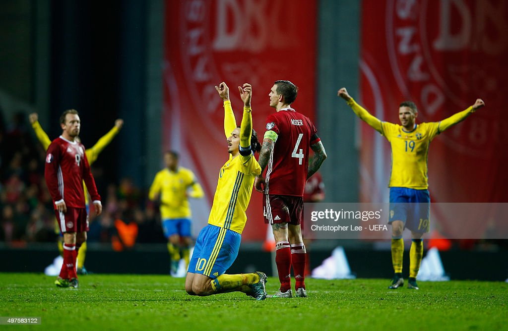 Zlatan Ibrahimovic of Sweden drops to his knees as he celebrates their victory during the UEFA EURO 2016 Qualifier Play-Off Second Leg match between Denmark and Sweden at the Telia Parken on November 17, 2015 in Copenhagen, Denmark.