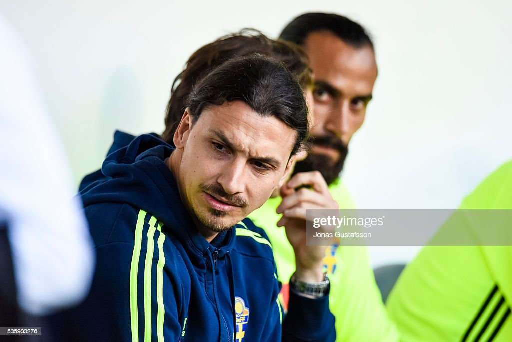 <a gi-track='captionPersonalityLinkClicked' href=/galleries/search?phrase=Zlatan+Ibrahimovic&family=editorial&specificpeople=206139 ng-click='$event.stopPropagation()'>Zlatan Ibrahimovic</a> of Sweden during the international friendly match between Sweden and Slovenia May 30, 2016 in Malmo, Sweden.