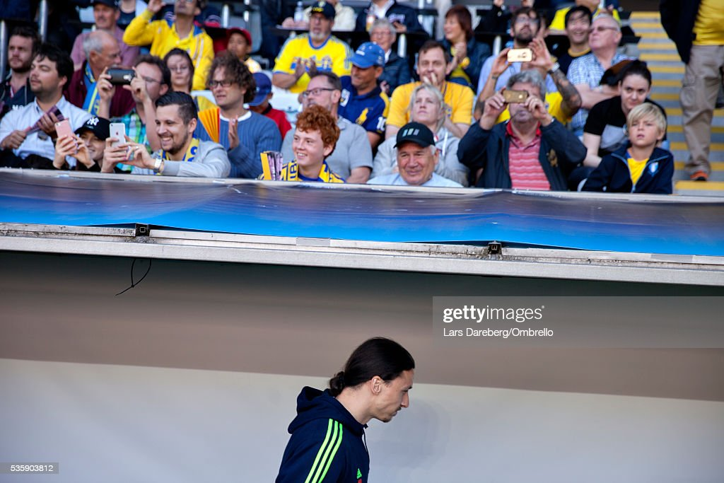 <a gi-track='captionPersonalityLinkClicked' href=/galleries/search?phrase=Zlatan+Ibrahimovic&family=editorial&specificpeople=206139 ng-click='$event.stopPropagation()'>Zlatan Ibrahimovic</a> of Sweden during the international friendly match between Sweden and Slovenia on May 30, 2016 in Malmo, Sweden.