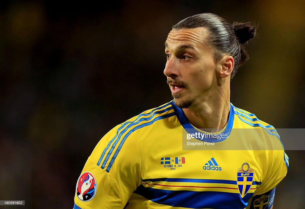 <a gi-track='captionPersonalityLinkClicked' href=/galleries/search?phrase=Zlatan+Ibrahimovic&family=editorial&specificpeople=206139 ng-click='$event.stopPropagation()'>Zlatan Ibrahimovic</a> of Sweden during the UEFA EURO 2016 Qualifying match between Sweden and Moldova at the National Stadium Friends Arena on October 12, 2015 in Stockholm, Sweden.