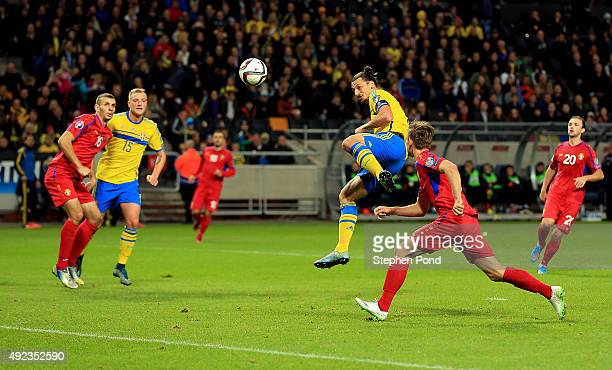 Zlatan Ibrahimovic of Sweden heads a shot at goal during the UEFA EURO 2016 Qualifying match between Sweden and Moldova at the National Stadium...