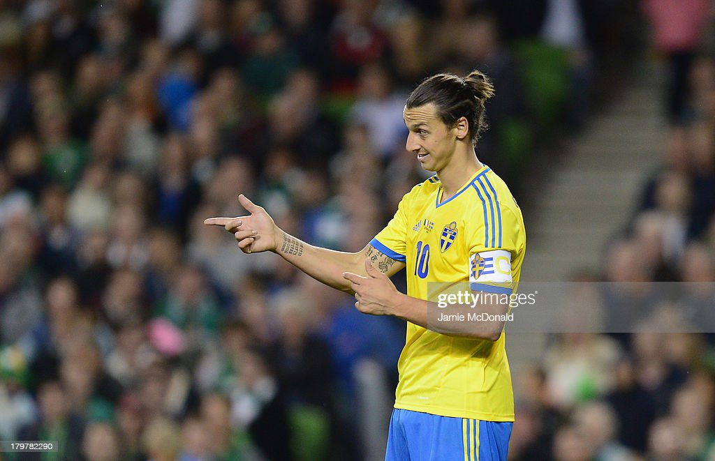 <a gi-track='captionPersonalityLinkClicked' href=/galleries/search?phrase=Zlatan+Ibrahimovic&family=editorial&specificpeople=206139 ng-click='$event.stopPropagation()'>Zlatan Ibrahimovic</a> of Sweden in action during the FIFA 2014 World Cup Qualifying Group C match between Republic of Ireland and Sweden at Aviva Stadium on September 6, 2013 in Dublin, Ireland.