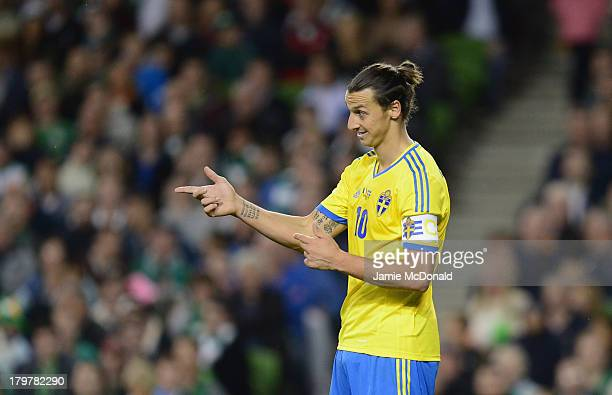 Zlatan Ibrahimovic of Sweden in action during the FIFA 2014 World Cup Qualifying Group C match between Republic of Ireland and Sweden at Aviva...
