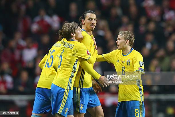 Zlatan Ibrahimovic of Sweden is congratulated by team mates after scoring the second goal during the UEFA EURO 2016 Qualifier PlayOff Second Leg...