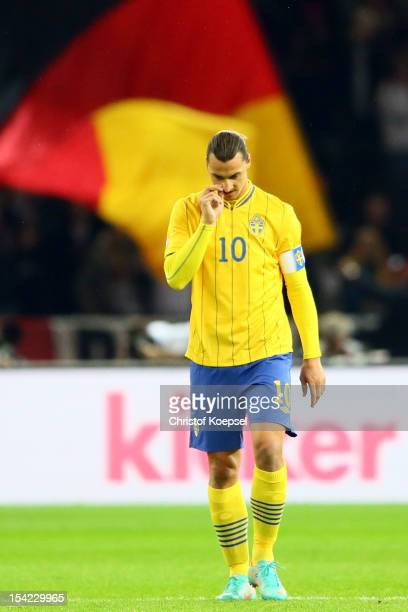 Zlatan Ibrahimovic of Sweden looks dejected after the second goal of Germany during the FIFA 2014 World Cup qualifier group C match between German...