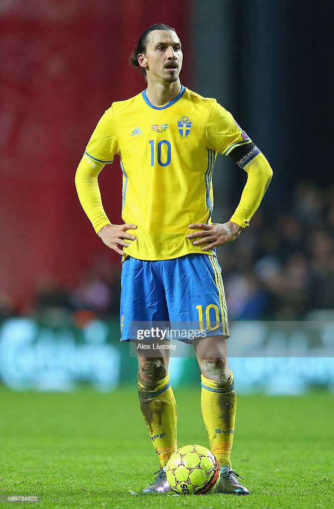 Zlatan Ibrahimovic of Sweden looks on during the UEFA EURO 2016 Qualifier PlayOff Second Leg match between Denmark and Sweden at Parken Stadium on...