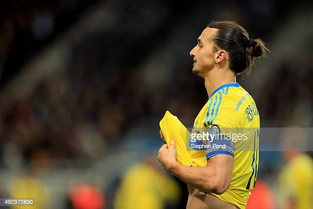 Zlatan Ibrahimovic of Sweden pauses during the UEFA EURO 2016 Qualifying match between Sweden and Moldova at the National Stadium Friends Arena on...