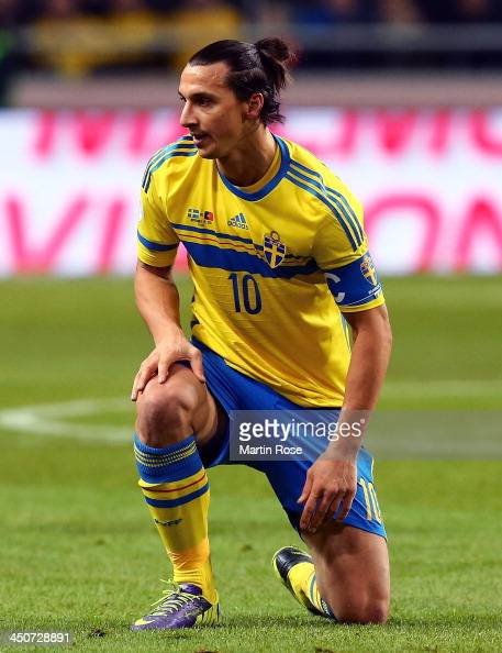 Zlatan Ibrahimovic of Sweden reacts during the FIFA 2014 World Cup Qualifier Playoff Second Leg match between Sweden and Portugal at Friends Arena on...