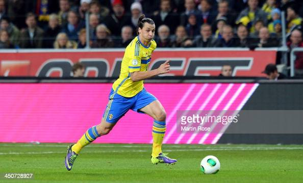 Zlatan Ibrahimovic of Sweden runs with the ball during the FIFA 2014 World Cup Qualifier Playoff Second Leg match between Sweden and Portugal at...