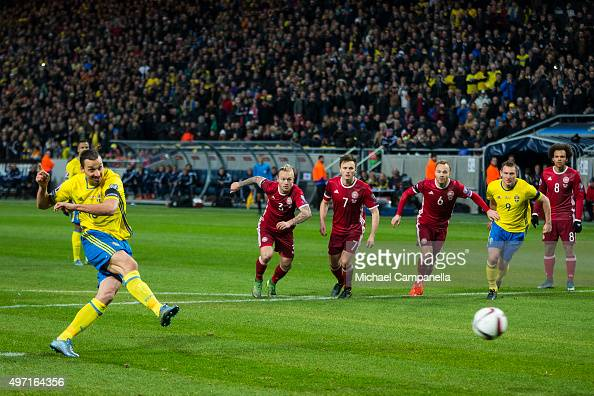 Zlatan Ibrahimovic of Sweden scores his team's second goal from the penalty spot during the European Qualifier PlayOff between Sweden and Danmark on...
