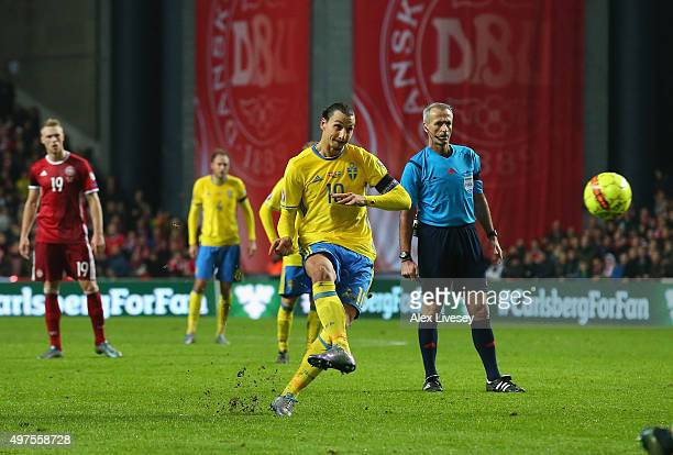 Zlatan Ibrahimovic of Sweden scores the second goal from a free kick during the UEFA EURO 2016 Qualifier PlayOff Second Leg match between Denmark and...