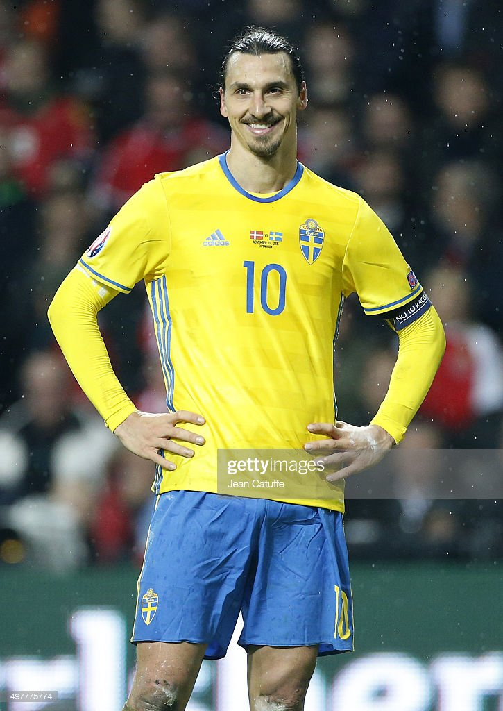 Zlatan Ibrahimovic of Sweden smiles during the UEFA EURO 2016 qualifier playoff second leg match between Denmark and Sweden at Telia Parken stadium...