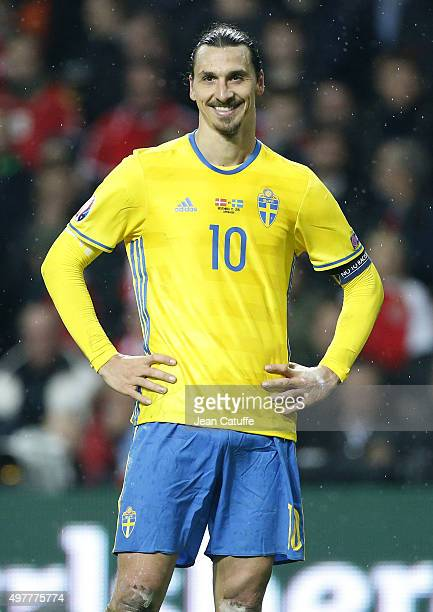 Zlatan Ibrahimovic of Sweden smiles during the UEFA EURO 2016 qualifier playoff second leg match between Denmark and Sweden at Telia Parken stadium...