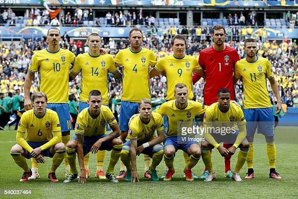 Zlatan Ibrahimovic of Sweden Victor Lindelof of Sweden Andreas Granqvist of Sweden Kim Kallstrom of Sweden goalkeeper Andreas Isaksson of Sweden...