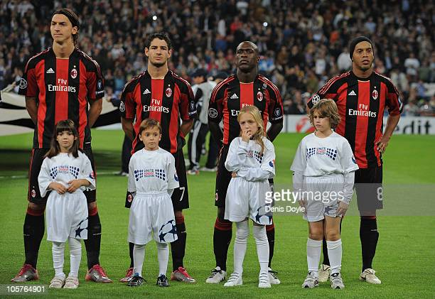 Zlatan Ibrahimovic Pato Clarence Seedorf and Ronaldinho lineup before the start of the UEFA Champions League Group G match between Real Madrid and AC...