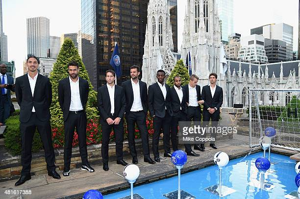 Zlatan Ibrahimovic Salvatore Sirigu Maxwell Thiago Motta JeanChristophe Bahebeck Lucas Moura Lucas Digne and Benjamin Stambouli attend the launch of...