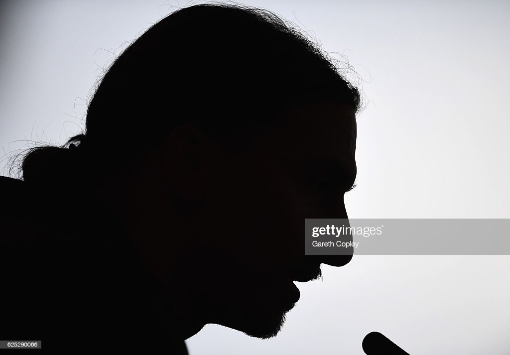 Zlatan Ibrahimovic speaks during a Manchester United press conference on the eve of their UEFA Europa League match against Feyenoord at Aon Training Complex on November 23, 2016 in Manchester, England.