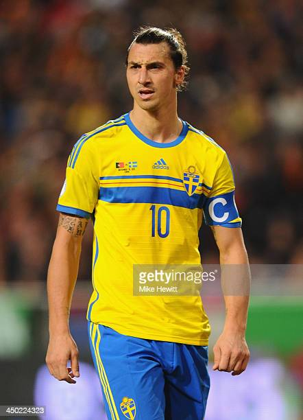 Zlatan Ibrahimovich of Sweden looks on during the FIFA 2014 World Cup Qualifier Playoff First Leg between Portugal and Sweden at Estadio da Luz on...