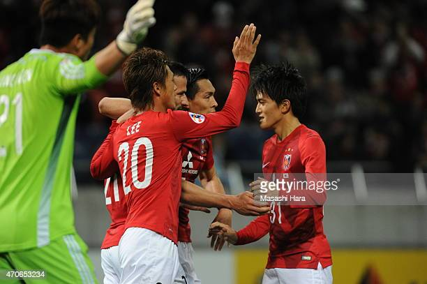 Zlatan Ljubijankic celebrates the first goal during the AFC Champions League Group G match between Urawa Red Diamonds and Suwon Samsung FC at Saitama...