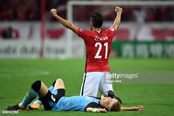 Zlatan Ljubijankic of Urawa Red Diamonds celebrates his side's 41 win after the AFC Champions League quarter final second leg match between Urawa Red...