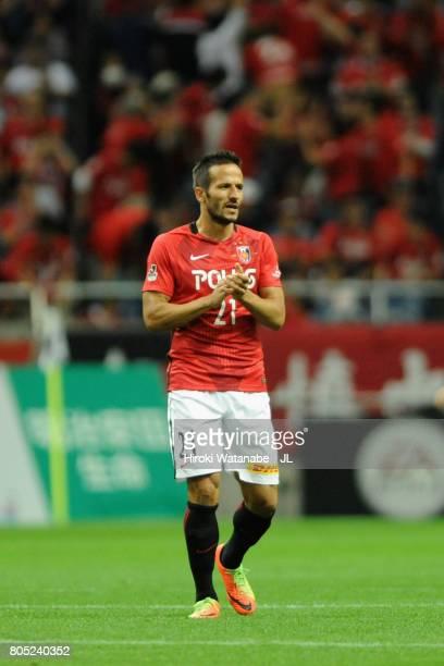 Zlatan Ljubijankic of Urawa Red Diamonds celebrates scoring his side's third goal to make it 33 during the JLeague J1 match between Urawa Red...