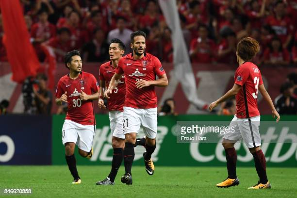 Zlatan Ljubijankic of Urawa Red Diamonds celebrates scorings his side's second goal during the AFC Champions League quarter final second leg match...