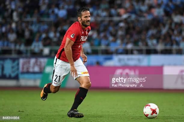 Zlatan Ljubijankic of Urawa Red Diamonds in action during the JLeague J1 match between Jubilo Iwata and Urawa Red Diamonds at Shizuoka Stadium Ecopa...