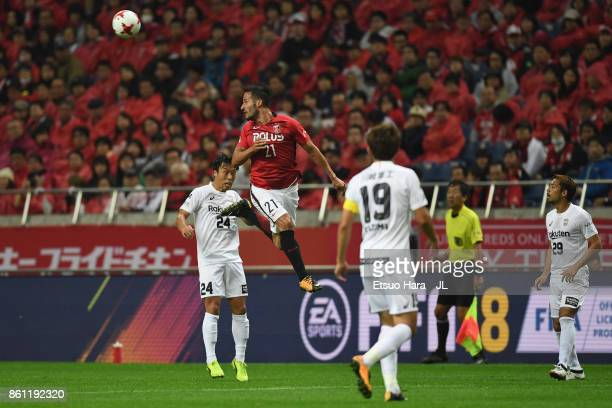 Zlatan Ljubijankic of Urawa Red Diamonds jumps for the header during the JLeague J1 match between Urawa Red Diamonds and Vissel Kobe at Saitama...