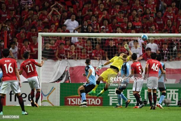 Zlatan Ljubijankic of Urawa Red Diamonds scores his side's second goal during the AFC Champions League quarter final second leg match between Urawa...