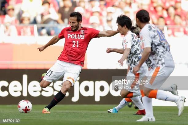 Zlatan Ljubijankic of Urawa Red Diamonds shoots at goal during the JLeague J1 match between Urawa Red Diamonds and Shimizu SPulse at Saitama Stadium...