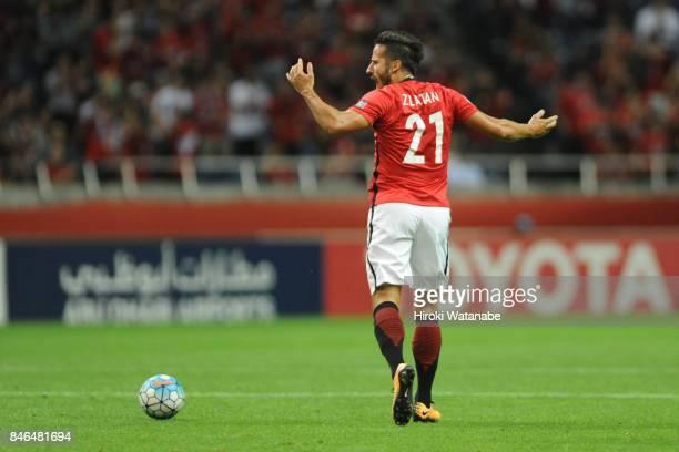 Zlatan of Urawa Red Diamonds celebrates scoring his team's second goal during the AFC Champions League quarter final second leg match between Urawa...