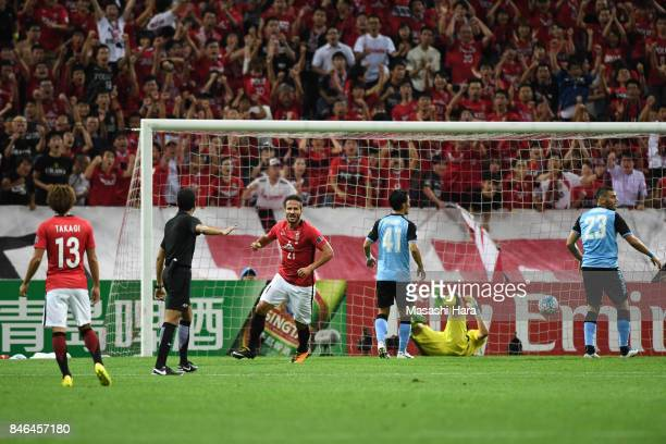 Zlatan of Urawa Red Diamonds celebrates the second goal during the AFC Champions League quarter final second leg match between Urawa Red Diamonds and...