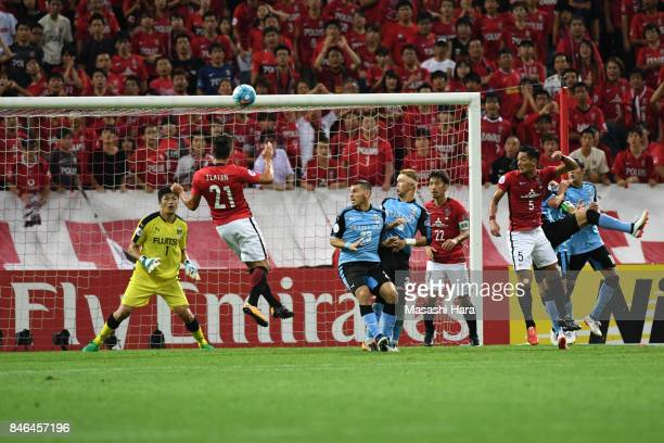 Zlatan of Urawa Red Diamonds scores the second goal during the AFC Champions League quarter final second leg match between Urawa Red Diamonds and...