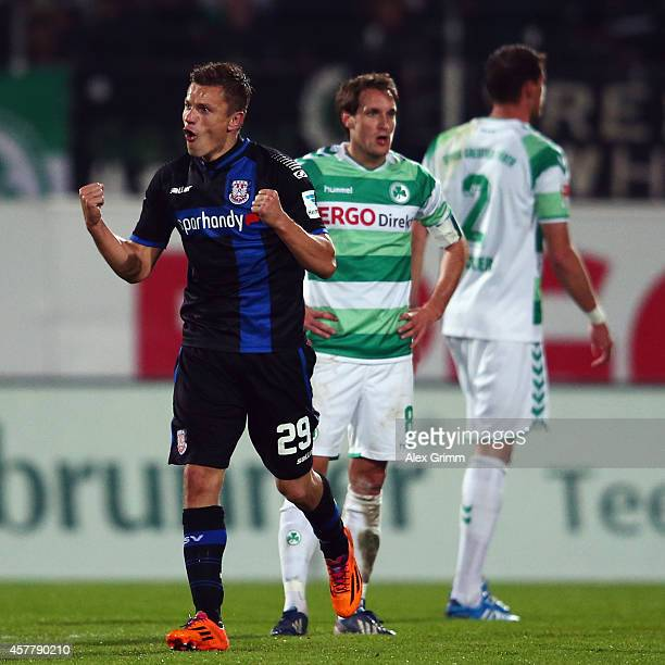 Zlatko Dedic of Frankfurt celebrates his team's fourth goal during the Second Bundesliga match between Greuther Fuerth and FSV Frankfurt at...