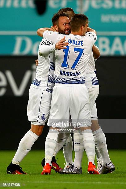 Zlatko Janjic of Duisburg celebrates the first goal with Kevin Wolze during the Third League match between MSV Duisburg and SC Paderborn at...
