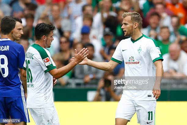 Zlatko Junuzovic and Goalgetter Lennart Thy of Bremen celebration the Goal 23 during the preseason friendly match between Werder Bremen and FC...