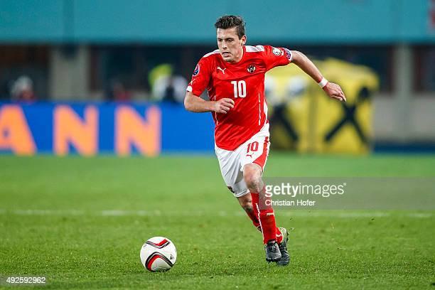 Zlatko Junuzovic of Austria controls the ball during the UEFA EURO 2016 Qualifier between Austria and Liechtenstein at Ernst Happel Stadion on...