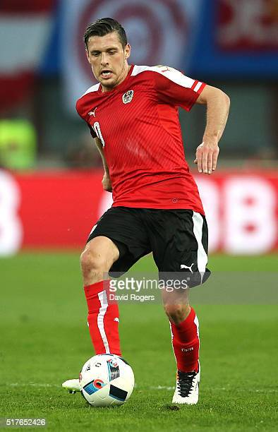 Zlatko Junuzovic of Austria passes the ball during the international friendly match between Austria and Albania at the ErnstHappelStadion on March 26...