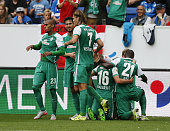 Zlatko Junuzovic of Bremen celebrates after scoring his team's first goal with his teammates during the Bundesliga match between 1899 Hoffenheim and...