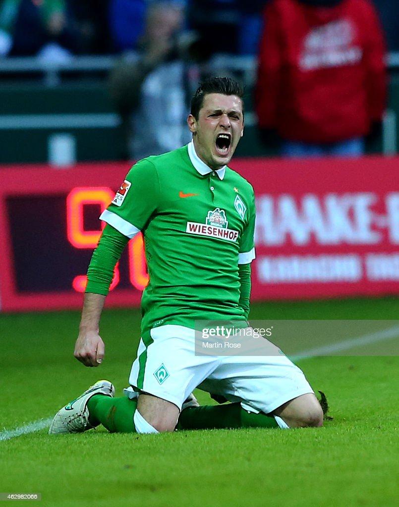 Zlatko Junuzovic of Bremen celebrates after scoring the 2nd goal during the Bundesliga match between SV Werder Bremen and Bayer 04 Leverkusen at...