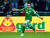 Zlatko Junuzovic of Bremen celebrates after scoring the 2nd goal during the Bundesliga match between SV Werder Bremen and Bayer 04 Leverkusen at...