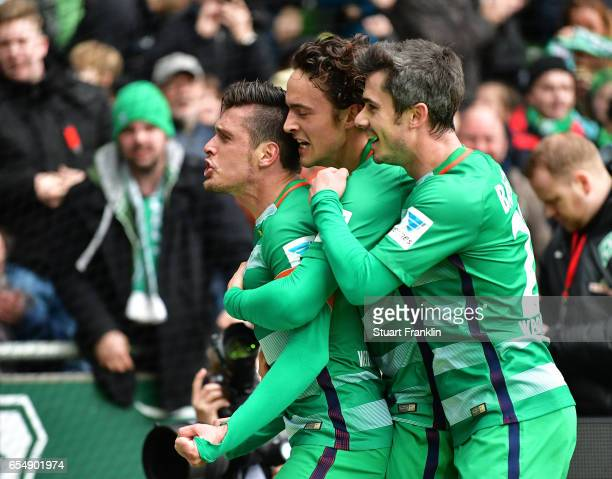 Zlatko Junuzovic of Bremen celebrates scoring his goal during the Bundesliga match between Werder Bremen and RB Leipzig at Weserstadion on March 18...