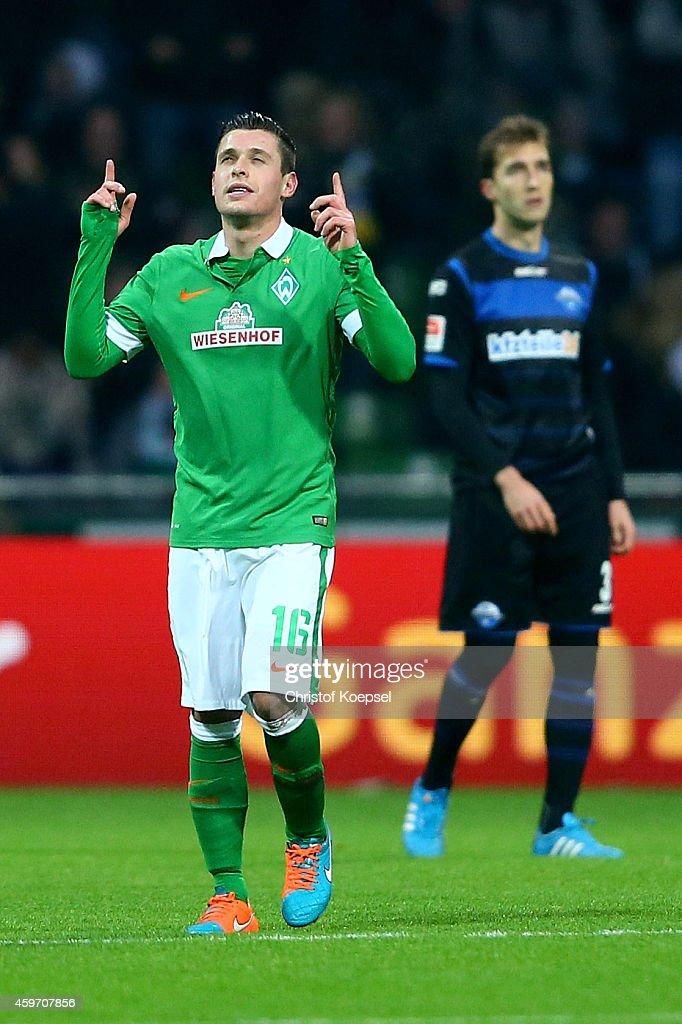 Zlatko Junuzovic of Bremen celebrates the first goal during the Bundesliga match between Werder Bremen and SC Paderborn at Weserstadion on November...