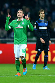 Zlatko Junuzovic of Bremen celebrates the first goal during the Bundesliga match between Werder Bremen and SC Paderborn at Weserstadion on November...