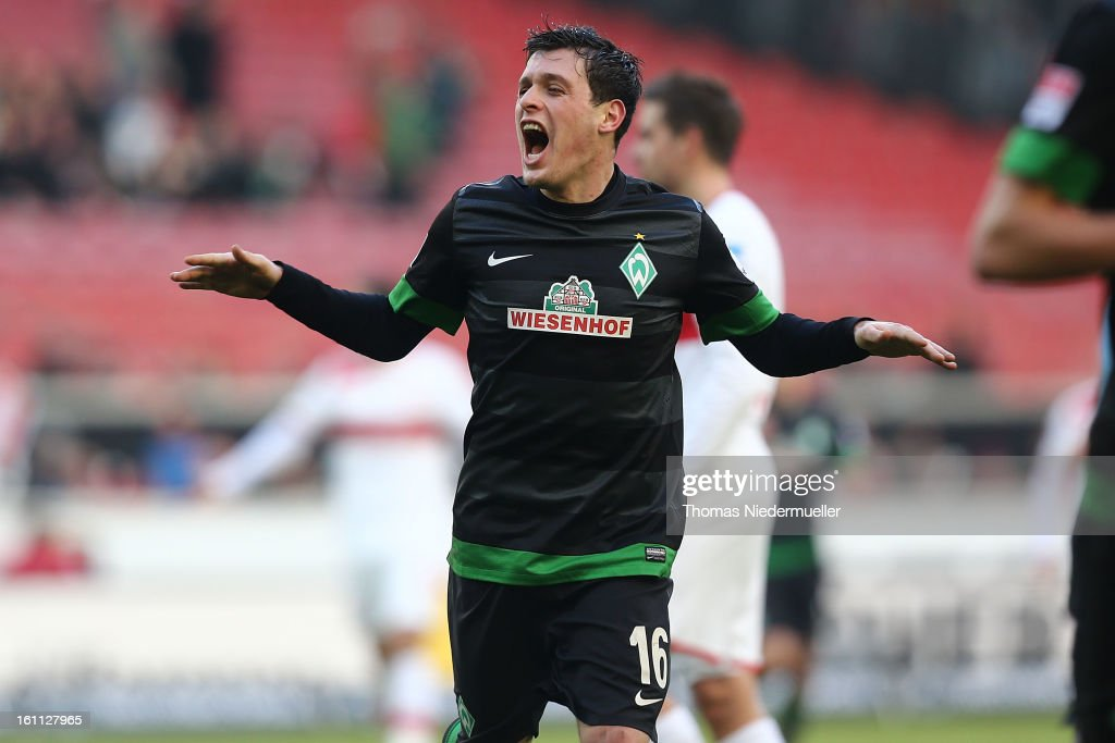 Zlatko Junuzovic of Bremen celebrates the goal of Mehmet Ekici of Bremen during the Bundesliga match between VfB Stuttgart and Werder Bremen at Mercedes-Benz Arena on February 9, 2013 in Stuttgart, Germany.