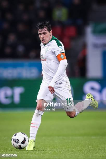 Zlatko Junuzovic of Bremen controls the ball during the Bundesliga match between Bayer 04 Leverkusen and Werder Bremen at BayArena on March 10 2017...