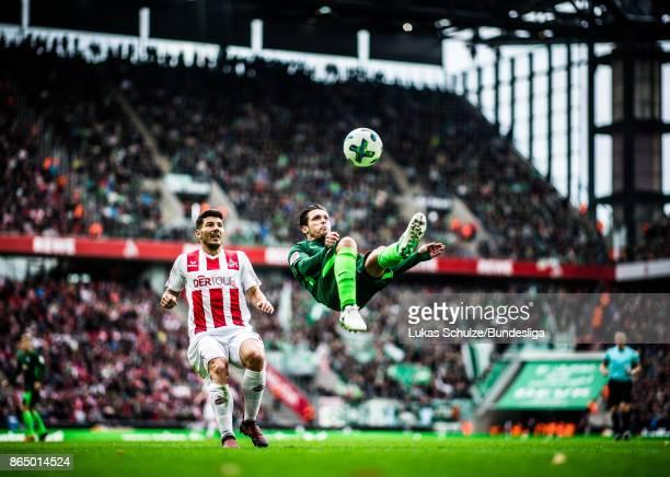 Zlatko Junuzovic of Bremen in action with a bicycle kick during the Bundesliga match between 1 FC Koeln and SV Werder Bremen at RheinEnergieStadion...