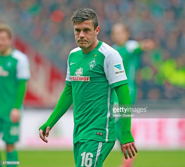 Zlatko Junuzovic of Bremen plays the ball during the Bundesliga match between SV Werder Bremen and Borussia Moenchengladbach at Weserstadion on May...