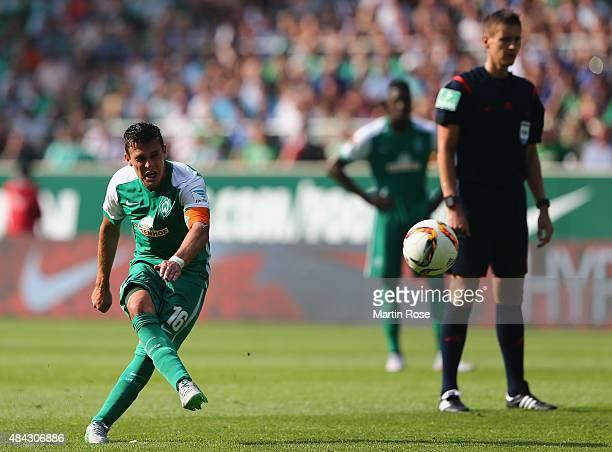 Zlatko Junuzovic of Bremen runs with the ball during the Bundesliga match between SV Werder Bremen and Schalke 04 at Weserstadion on August 15 2015...