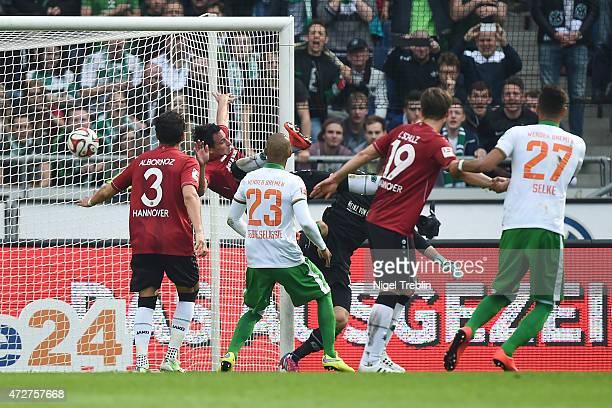 Zlatko Junuzovic of Bremen scores a goal during the Bundesliga match between Hannover 96 and SV Werder Bremen at HDIArena on May 9 2015 in Hanover...